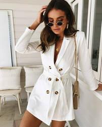 Весенний костюм Блейзер Для женщин 2019 Новый Повседневное двубортный карман Для женщин длинное платье куртка Элегантный длинным рукавом