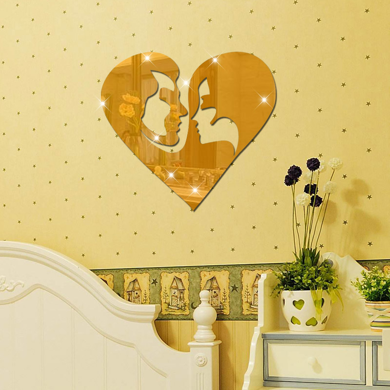 Fundecor] couple 3D mirror wall sticker living room wedding bedroom ...