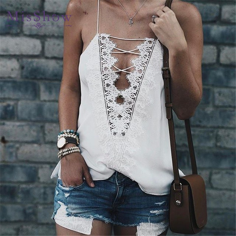 MisShow Estilo Verão Mulheres Tops Sexy V Neck Camisolas Para Senhoras Preto e Branco Alcinhas Rendas Patchwork Oco Voltar Cami top