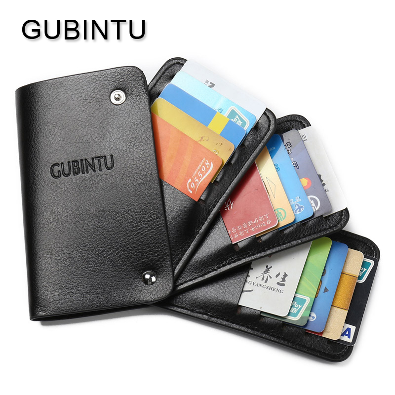 GUBINTU Leather Credit Card Bags Soft Unisex Wallet Trifold Rotate Pickup Package Business Card Holder Cover With 30 Cards Slots