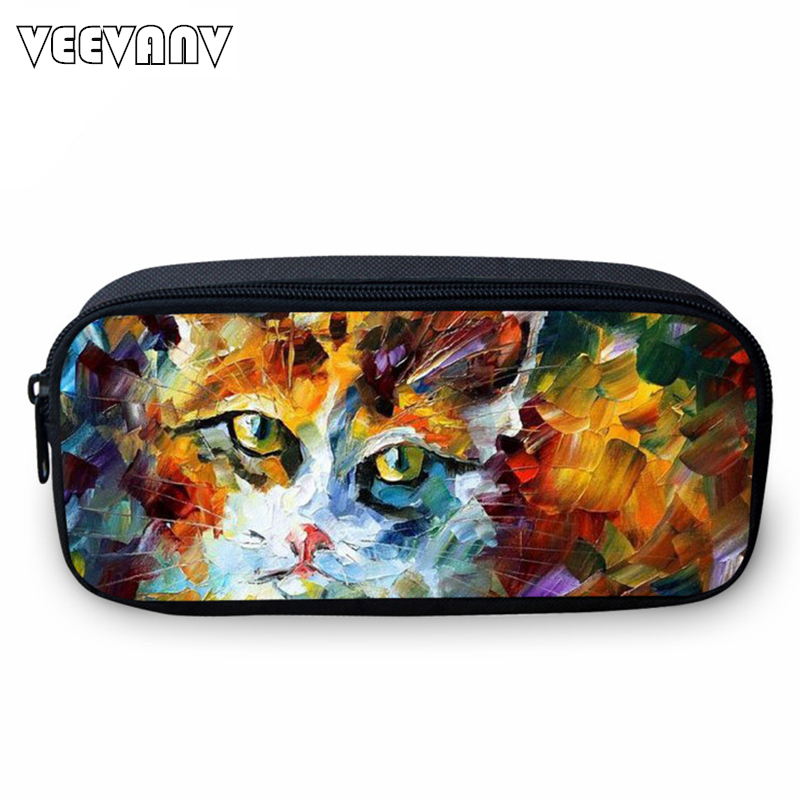 VEEVANV 2017 Cute Cat Small Case for Students Casual Study Box for Girls Fashion Animal Printing Girls Wallets School Cases Kids