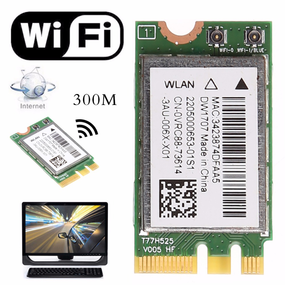 300M Wireless Bluetooth V4.0 NGFF WIFI WLAN Card For Dell DW1707 VRC88 Qualcomm Atheros QCNFA335