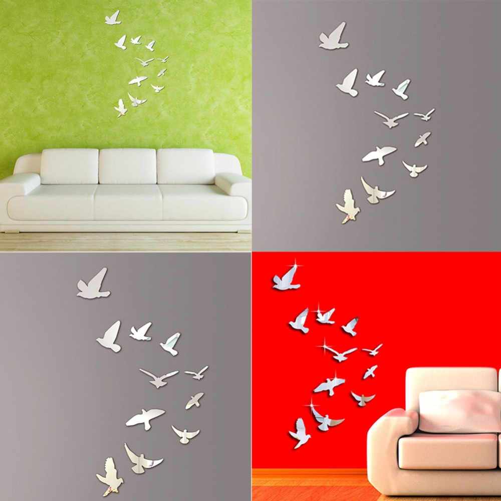 Acrylic mirror wall sticker bird shape modern wall stickers home floral decor poster diy wall decals art poster in wall stickers from home garden on