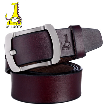 [MILUOTA] 2016 Mens Belts Luxury High Quality Cow Genuine Leather Belts for Men Brand Pin Buckle Strap Male MU069