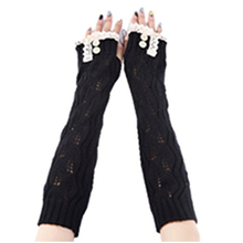 Women's Crochet Long Fingerless Gloves with Thumb Hole (1-Lace Black)
