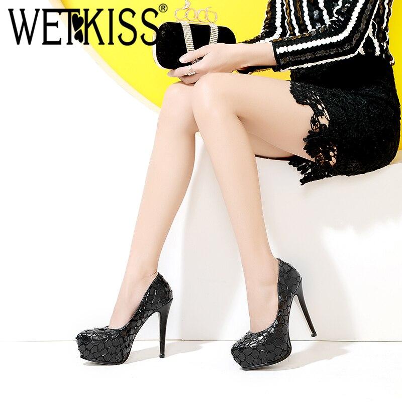 De Tacones Mujeres Plataforma 2018 Impresión Negro amarillo Verano Bombas Wetkiss Zapatos Aguja Puntiagudo Manera Señoras La Otoño xUw1fqF5