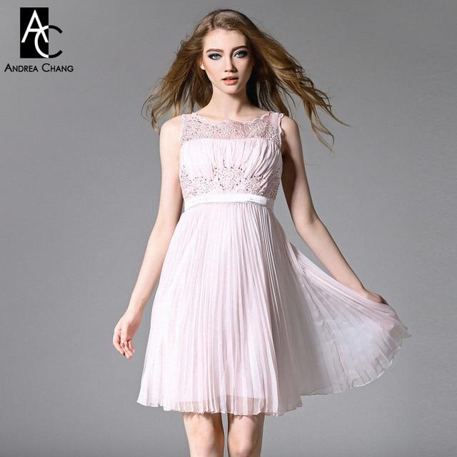 b697518a7c Wiosna lato runway projektant sukienki damskie ciemny różowy lawendy  sukienka plisowana suknia zroszony top event party