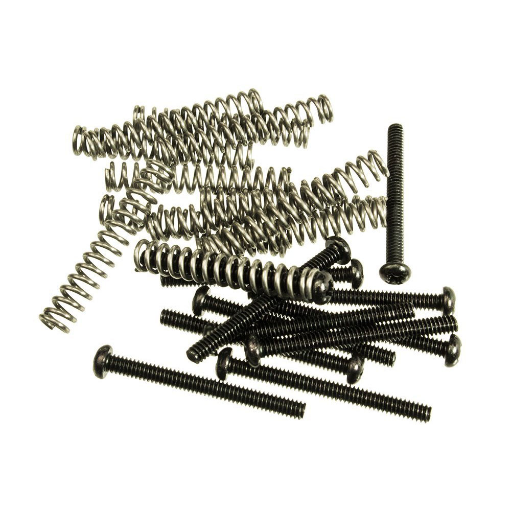 black pickup height adjustment screws with springs package of 12 each in guitar parts. Black Bedroom Furniture Sets. Home Design Ideas