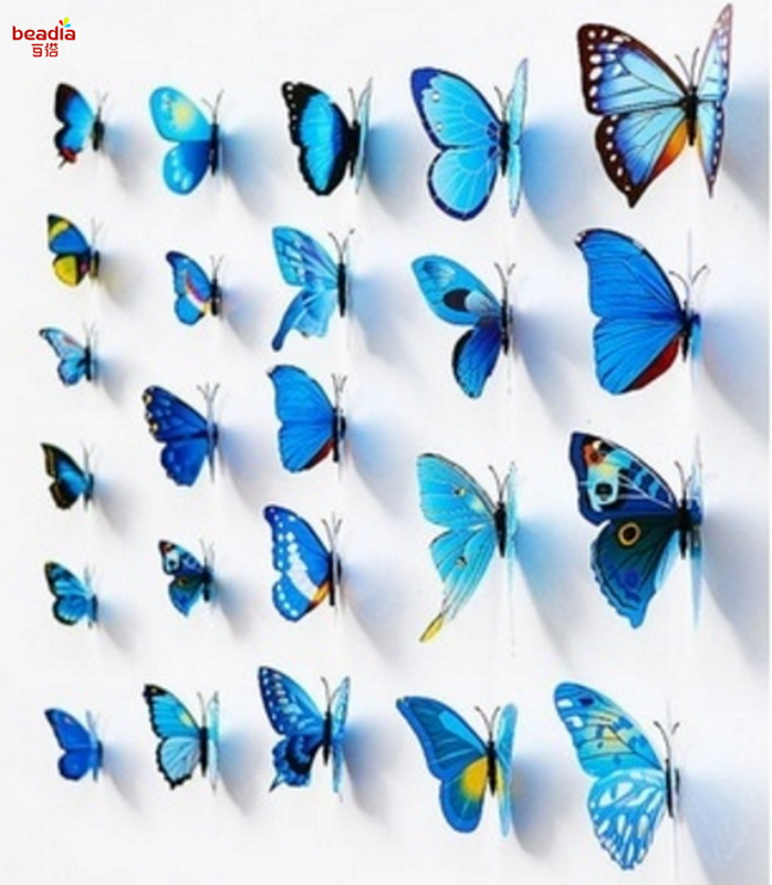 12Pcs PVC Removable Butterfly Decals 3D Wall Stickers Home Decor Poster for Kids Rooms Adhesive to Wall Decoration