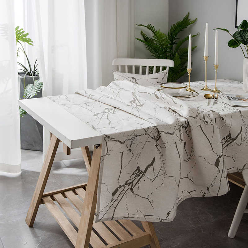 Simanfei Geometry Marble Pattern Cotton Linen Waterproof Tablecloths Decorative Home Decor Table Cloth High Quality tablecloth