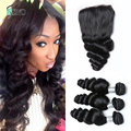"""Loose Wave,1 Piece Lace Closure and 3Pcs Hair Bundles 100% Brazilian Virgin Hair Weft,4pcs/lot 8""""-30"""" Free shipping by DHL"""