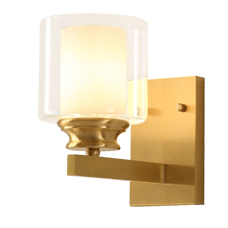 Creative Nordic LED Wall Light Fixtures Bathroom Mirror Lights Copper Wall Sconces Lamp Glass Arandela Bedroom Home Lighting
