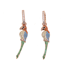 New Fashion Jewelry dangle Design Bird Shape Earrings Shining Multi CZ rose Gold Color Brincos Statement Christmas Gift