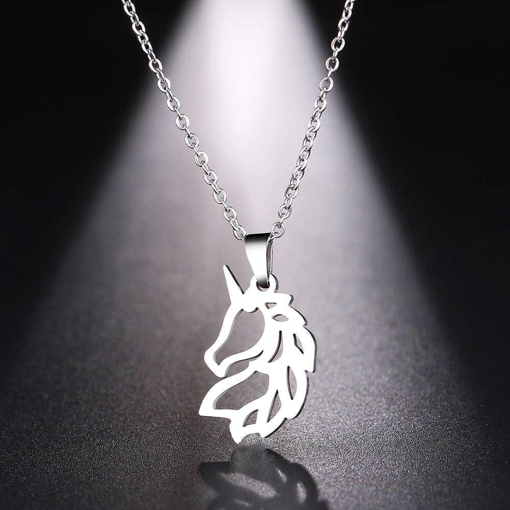 الكاكاو قلادة من الفولاذ المقاوم للصدأ للنساء رجل نوبل الحصان الذهب والفضة اللون قلادة قلادة مجوهرات الخطوبة