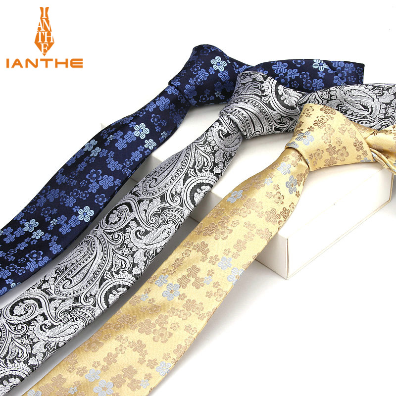 High Quality Men's Tie Paisley Skinny Ties Wedding Shirts Necktie For Men Paisley Cravate Business Pour Homme Rouge Slim Bowknot