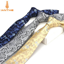 High Quality Men's Tie Paisley Skinny Ties Wedding Shirts Necktie For Men Paisley Cravate Business Pour Homme Rouge Slim Bowknot(China)
