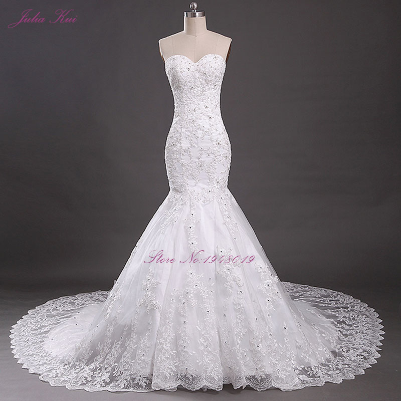 Julia Kui Mermaid Wedding Dress Romantic Sweetheart Lace Up Bridal Dress Sexy Strapless Vestido De Noiva