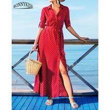 RONNYKISE Polka Dot Printed Dresses Womens Fashion Long Sleeve Bodycon Dress Summer Autumn Casual