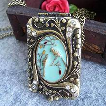 Fashion Brand Vintage Necklaces For Women Retro Chinese Mural Style Enamel Bird Locket Box Long Chain Jewelry Sweater Necklace(China)