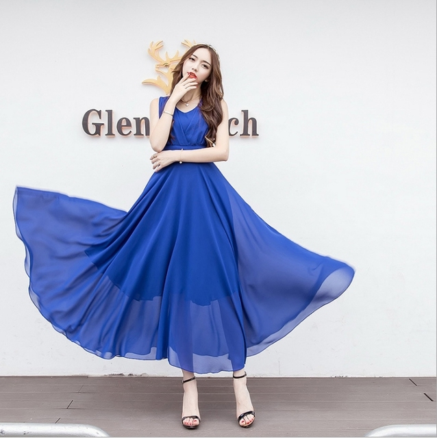 2018 Spring And Summer Dress Elegant Wonem Longuette Fashion Plus Size Temperamental Party Dresses Sexy Slim Comfortable Dresses 2