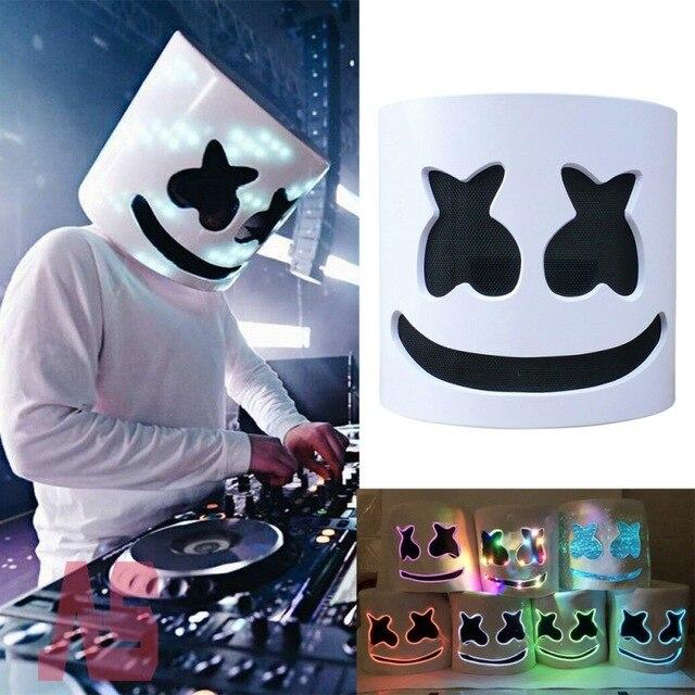 Шлем маска для косплея DJ Хэллоуин вечерние латексные маски светодиодный вечерние бар DJ светодиодный светящиеся маски