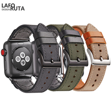 Laforuta Strap for Apple Watch Band Series 4 3 2 1 High Quality iWatch 44mm 40mm Leather Nylon Straps Watchband Bracelet
