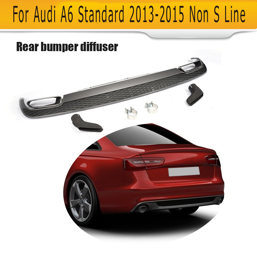 car rear bumper lip spoiler diffuser with exhaust tips for Audi A6 standard Only 2013-2015 RS6 style Non Sline RS6 S6 цены