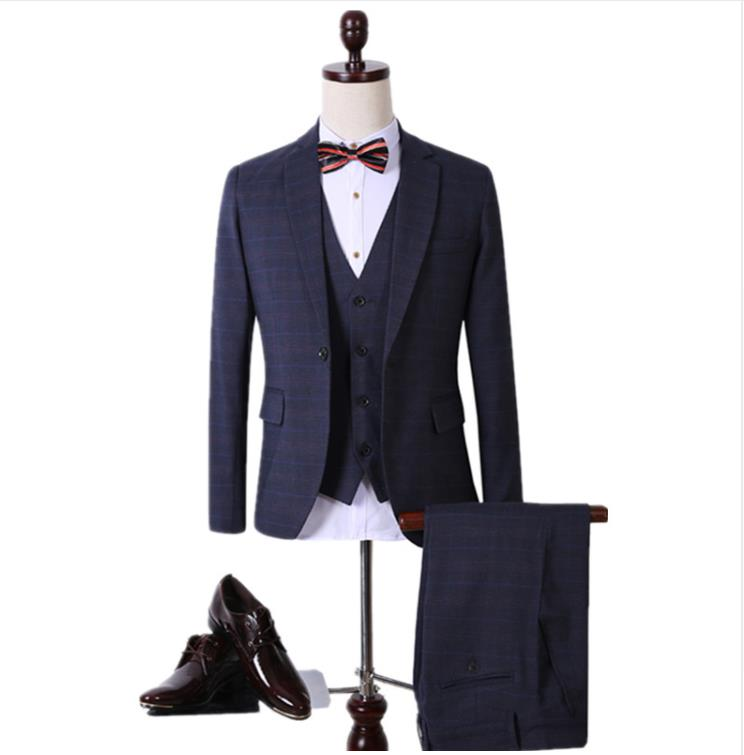 Traje Men's Wool Single Button Slim Fit Casual Suit Men,Blazer Wedding Dress Business Suits(Jackets+Vest+Pants) Terno Masculino