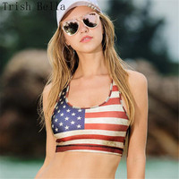 Crop Tops Women 2017 New Sexy Printing Flag Of The United States UltraShort Vest Jazz Crop