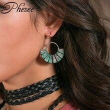 Phesee Women Vintage Dangle Earrings Antique Gold Zinc Alloy 2 Color Sector Shape Bohemia Brop Earrings Jewelry Wholesale