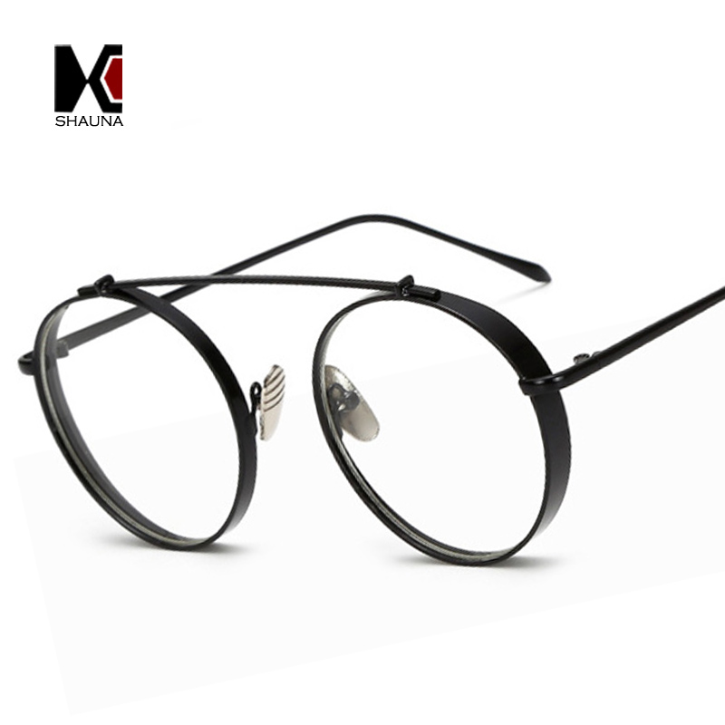 SHAUNA Wide Bridge Fashion Thick Metal Glasses Frame Women Round ...