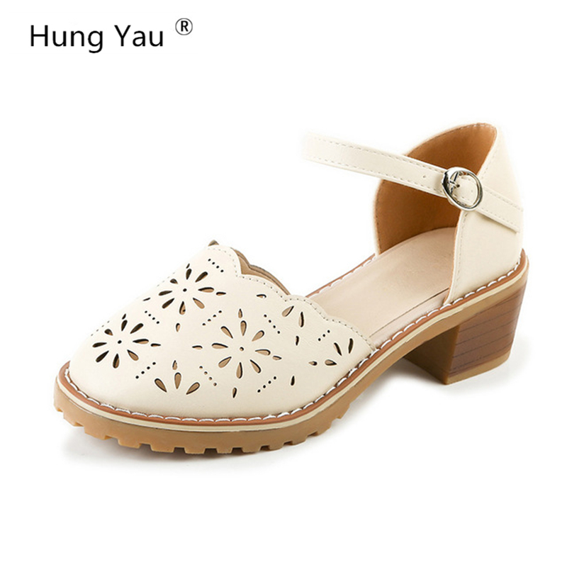 Hung Yau Women Sandals Hollow-Carved Platform White Sandals Comfortable High Hoof Thick Heels Summer Style Shoes Plus Size 9
