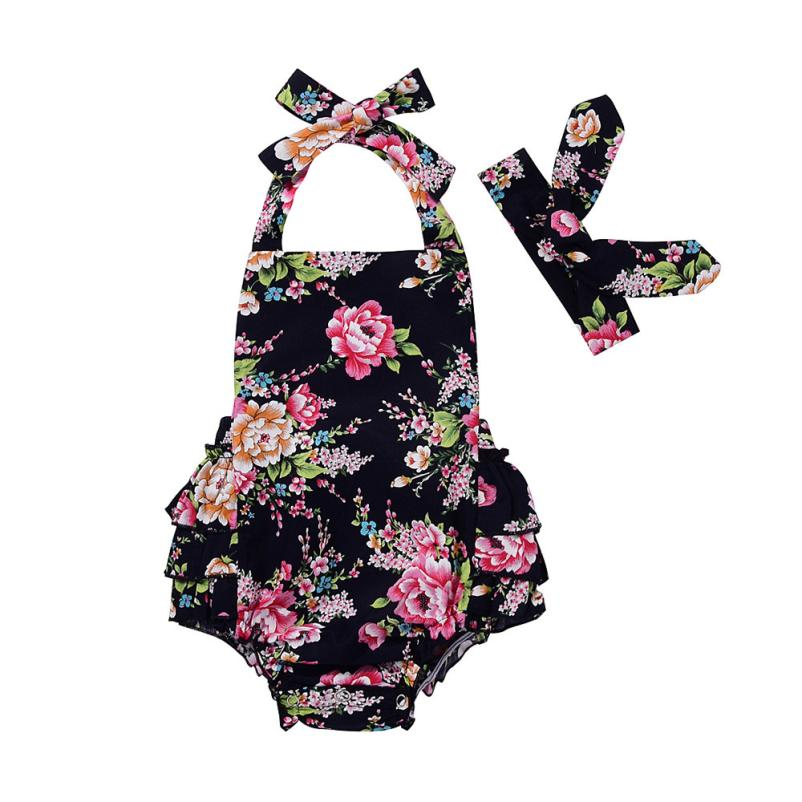 2018 1PCS/lot newborn baby rompers Floral Print Strap Rompers Jumpsuit Outfits set O-Neck 6-24M baby clothes clothing c625