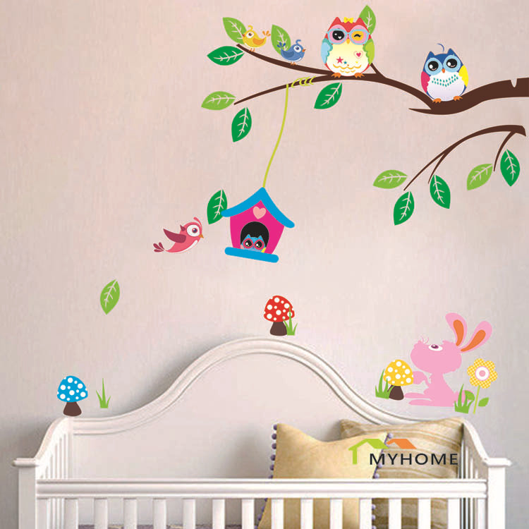 Removable Cartoon Animals Baby Child Decals Cute Birds Owl Wall Stickers for Kids Rooms Home Decor (Environmental PVC)