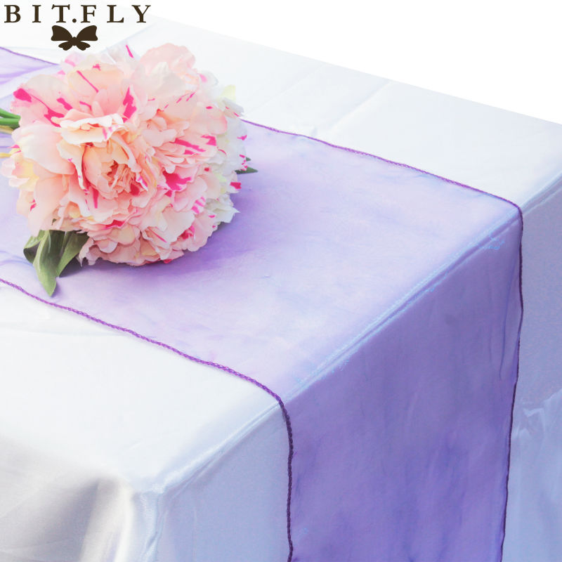 Table-Runner Banquet-Decoration Crystal Organza Plum Sheer-Gauze Swag Bow 30-Colours