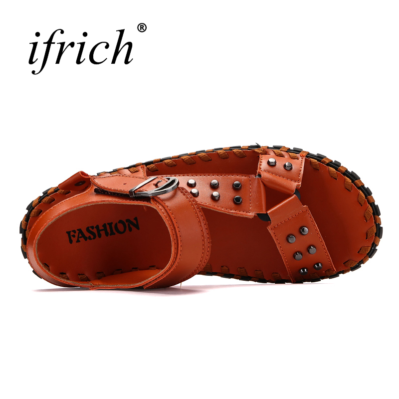 Outdoor Sandals Black Brown Men Summer Shoes Breathable Handmade Leather Sandals for Men 2018 Shoes for Male