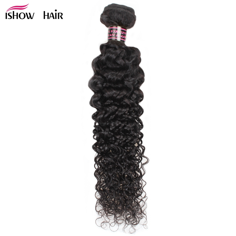 Ishow Mongolian Kinky Curly Human Hair Extensions 100% Human Hair Weave Bundles Machine Double Weft Natural Color Non Remy Hair