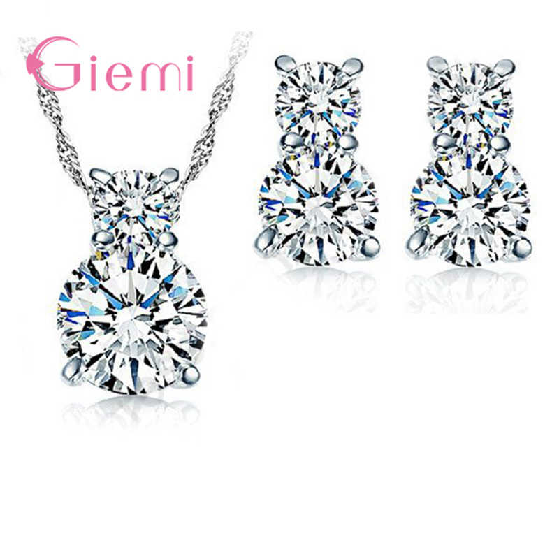 Trendy 925 Sterling Silver Super Shiny CZ Crystals Necklace Stud Earrings Jewelry Set Women Lady Party Wedding Accessories