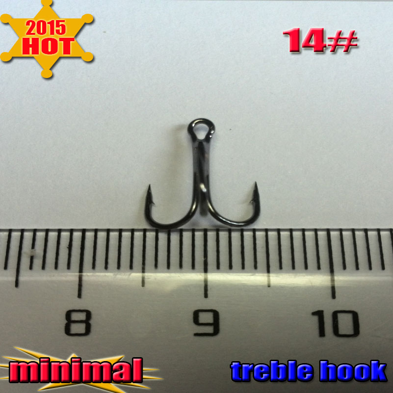 Free shipping Treble Fishing Hooks Barble Hook Round Bend 1000pcs 14 made of high carbon steel