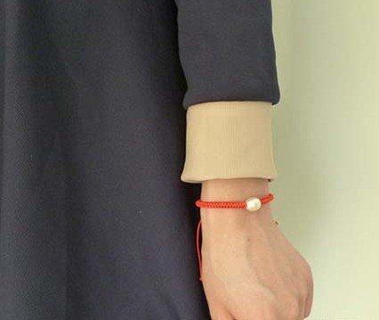 8-9 MM duży rozmiar regulowany naturalna perła słodkowodna bransoletka moda biżuteria z czerwonym szczęście ciąg nici, 30 sztuk/partia