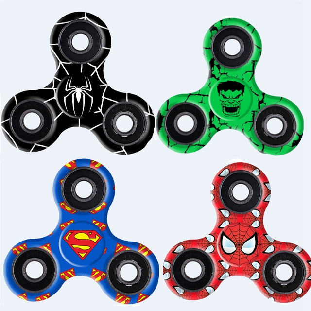 Tri Fidget Spinners Superman Glow Light Finger Figet Spiner Cube Focus Anti...