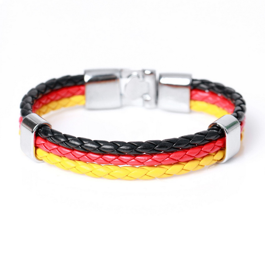Strand Bracelets Official Website 2017 New Fashion National Spain Flag Leather Bracelet For Men Women Trendy Braided Surfer Bandage Charm Friendship Bracelets