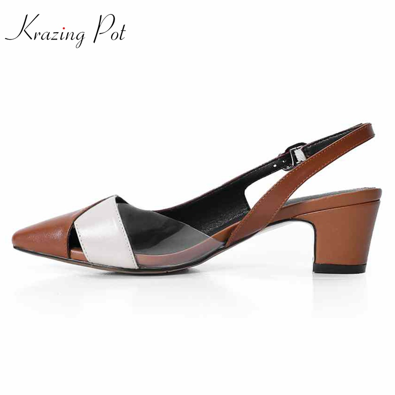 Krazing Pot genuine leather shoes women fashion thick high heel pumps buckle strap pointed toe wedding party slingback pumps L58 krazing pot fashion brand shoes genuine leather slip on pointed toe concise lazy style strange high heels women cozy pumps l73