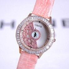 Mujeres de calidad superior de Cuero Real Relojes de Señora Vestido Reloj Rotación Grande Piedra de Diamante Reloj de Señora Relojes de Vestir de Cuero Genuino