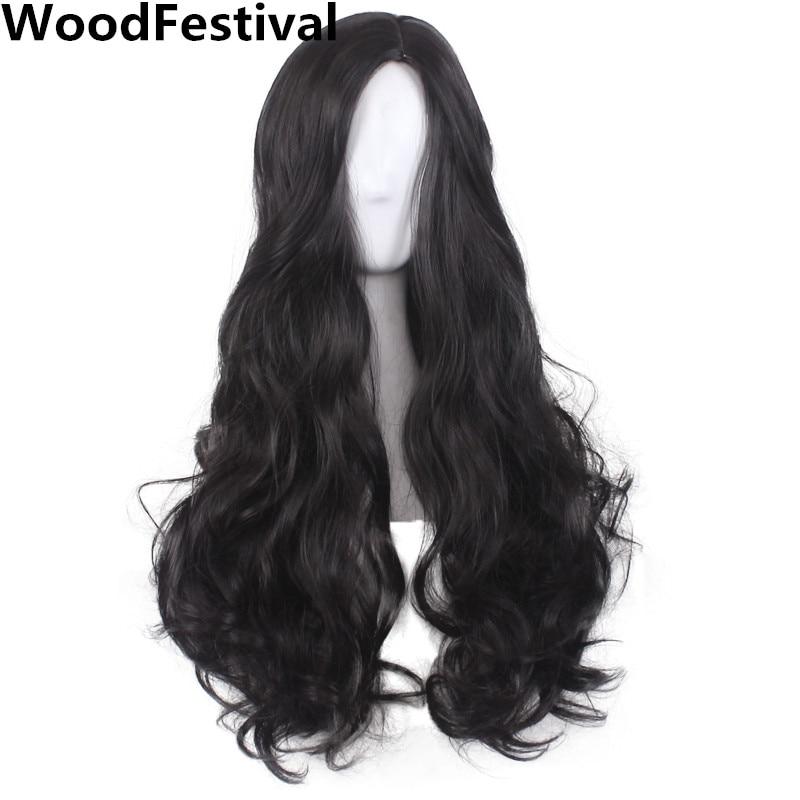 Woodfestival женские волнистые волосы длинные черный парик косплей синтетические парики термостойкие Высокая температура волокна средний разме...