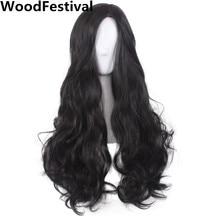 WoodFestival Lady kvinder bølget hår lang sort paryk cosplay syntetiske parykker varmebestandig høj temperatur fiber gennemsnitlig størrelse