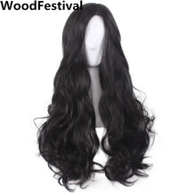 WoodFestival Lady women wavy hair long black wig cosplay synthetic wigs heat resistant high temperature fiber average size