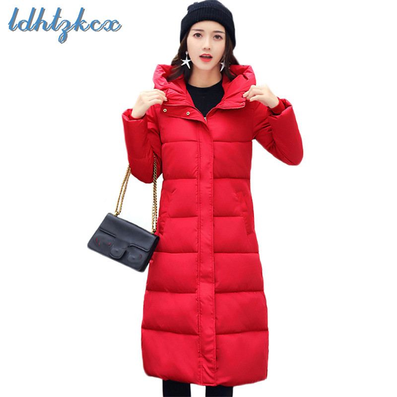 Winter Coat Women Plus Size Loose Hooded   Parkas   2019 Spring New Korean Office Lady Long Slim Thick Down Jacket Feminina CX621
