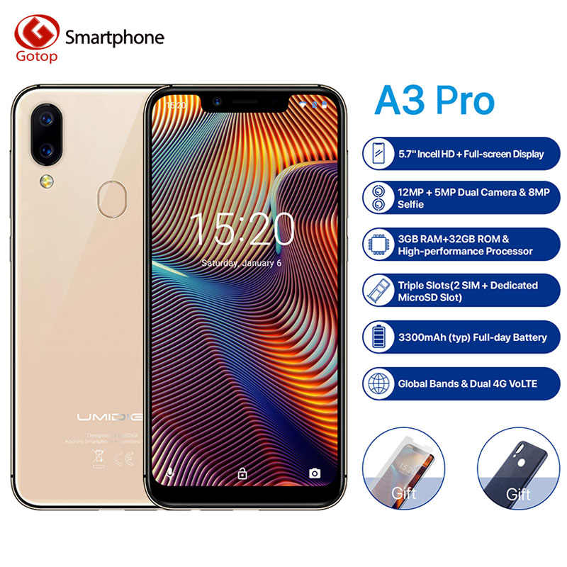 """UMIDIGI A3 Pro глобальная лента 5,7 """"19:9 полноэкранный смартфон 3 ГБ + 16 GB/32 GB Quad core Android 8,1 12MP + 5MP с распознаванием лица Dual core 4G 3 слота"""