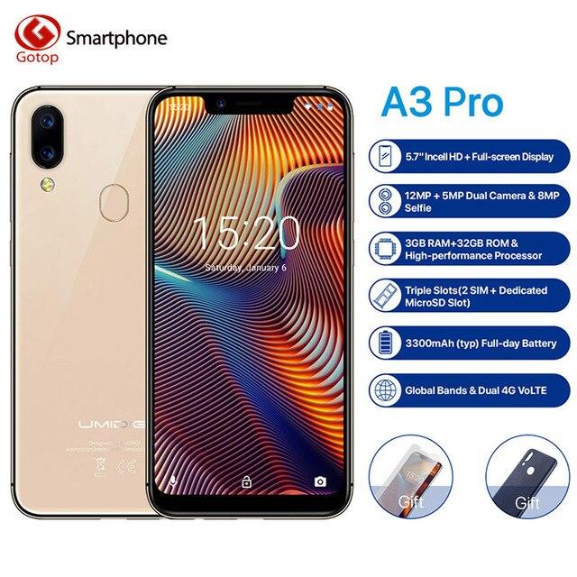 "UMIDIGI A3 Pro Global Band 5.7""19:9 FullScreen smartphone 3GB+16/32GB Quad core Android 8.1 12MP+5MP Face Unlock Dual 4G 3 Slots"